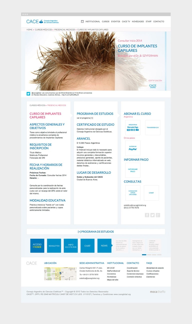 Cace | Web + Wordpress + Moodle + Responsive desing